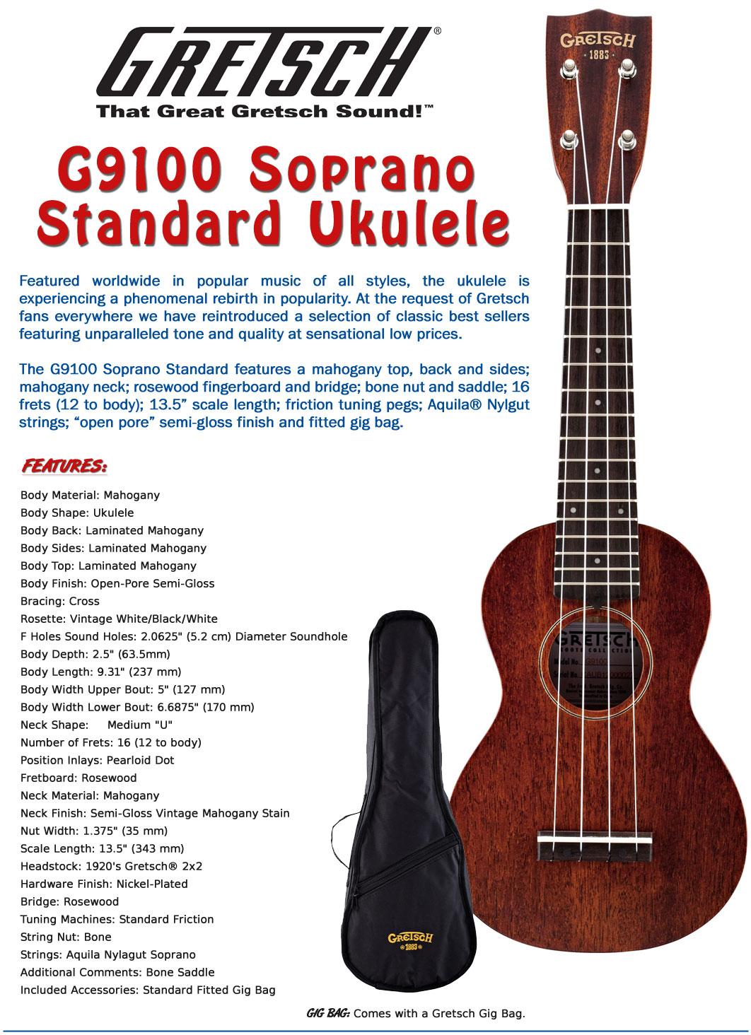 gretsch g9100 soprano standard ukulele with gig bag ebay. Black Bedroom Furniture Sets. Home Design Ideas